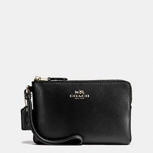 Coach Gift Box Small Zip Classic Leather Wristlet in Black