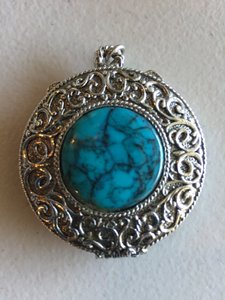 Round Silvertone Vintage Pendant With Solid Perfume Inside