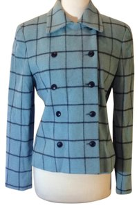 Ann Taylor LOFT Turquoise and black plaid Blazer