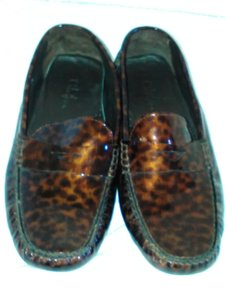 Cole Haan Patent Leather Penny Loafer Metallic Leopard Flats