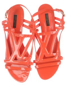 Louis Vuitton Patent Leather Strappy Cage Gladiator Lv Logo Orange, Gold Sandals