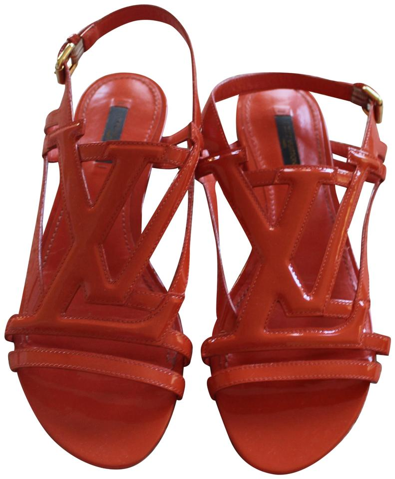 ab85aa1263b122 Louis Vuitton Orange Gold Patent Leather Lv Logo Cage 9 Sandals Size ...