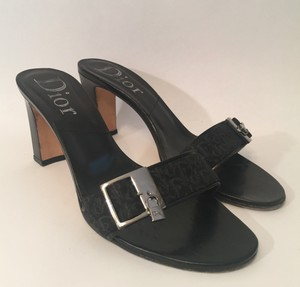 Dior Lock And Key Slides Black Mules