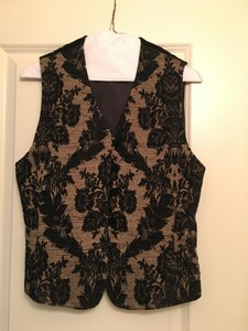 Liz Claiborne Velvet Vest Pattern Button Down Shirt black and tan
