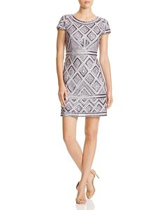 Adrianna Papell Cap Sleeve Beaded Party Dress