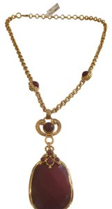 Jose & Maria Barrera JOSE AND MARIA BARRERA 24K GOLD PLATED RED GLASS PENDANT NECKLACE