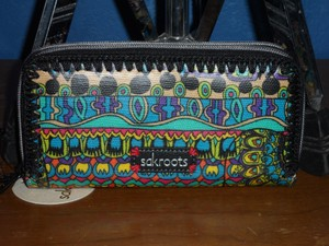 Sakroots NWT!! Radiant One World Double Zip Wallet Multi-color Coated Canvas