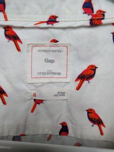 Gap Button Down Shirt Bird Print