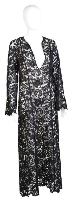 Item - Black Tom Ford For Lace Tunic Madonna Wore Too Long Formal Dress Size 4 (S)