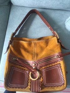 Isabella Fiore Fun Perfect Size Suede & Leather Hobo Bag