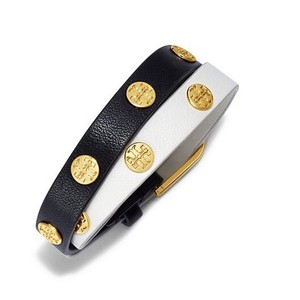Tory Burch Black & Ivory Leather Colorblock Logo Studs Double Wrap Buckle Bracelet