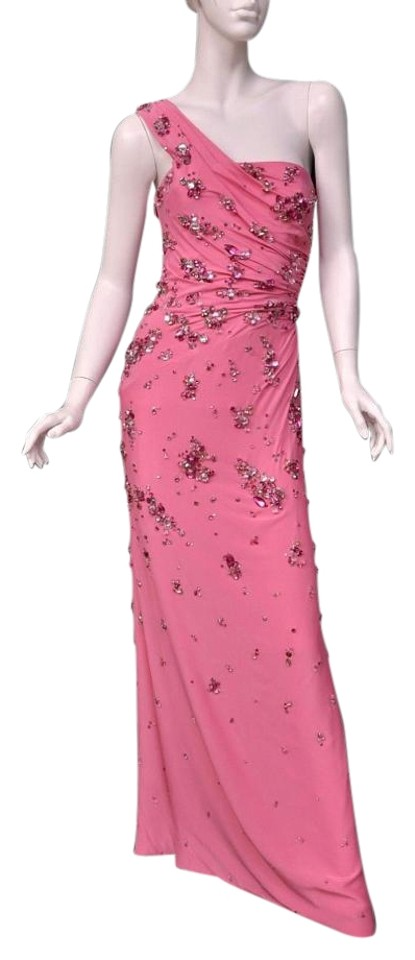Versace Pink New Shoulder Gown with Crystals Long Formal Dress Size ...