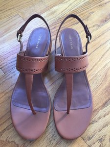 Cole Haan Leather T-strap Tan Sandals