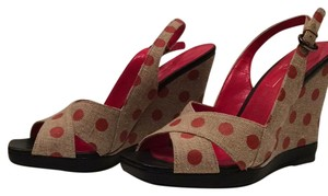 Linea Paolo Peep Toe Sandals Polka Dots Flirty Red and tan Wedges