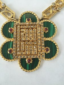 Cartier Vintage Cartier 18K Yellow Gold Diamond Malachite Ruby Necklace