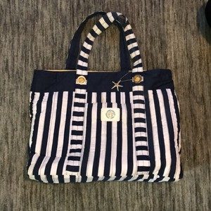 Fresh Produce Navy Blue And White Stripe Beach Bag
