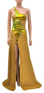 Versace Silk Leather Gown Evening Dress