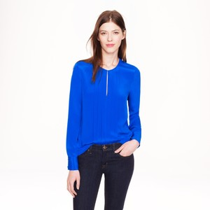 J.Crew Collection Silk Chic Classic Top Blue
