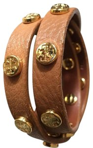 Tory Burch Double Wrap Logo Stud Leather Bracelet
