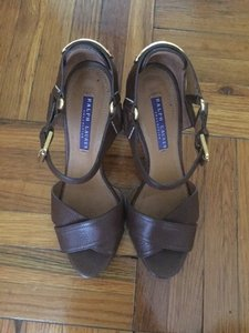 Ralph Lauren Collection Leather Gold Brown Sandals