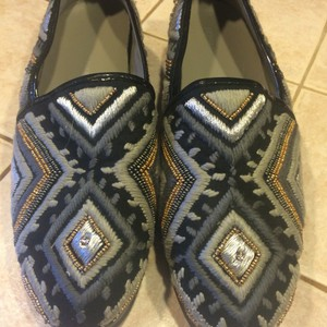Donald J. Pliner Embroidered Metallic Beads Black, Silver, Gold Flats