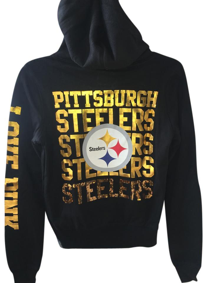 sale retailer 756b6 bd393 PINK Black Love Nfl Steelers Bling Sweatshirt/Hoodie Size 2 (XS) 53% off  retail