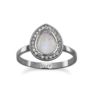 Diamond and Moon Stone Ring