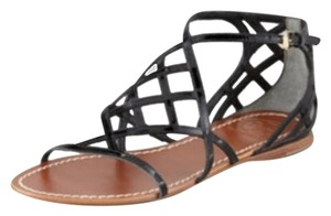 Tory Burch Flat Black Patent Leather Sandals