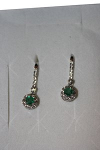 Sterling silver and zambian emerald and white topaz Earrings