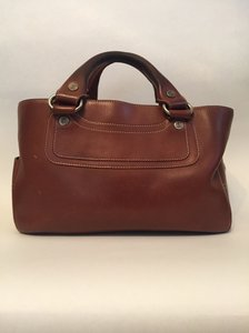 Céline Boogie Leather Satchel in Brown