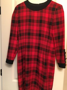 Kathryn Conover Checkered Covered Buttons Dress