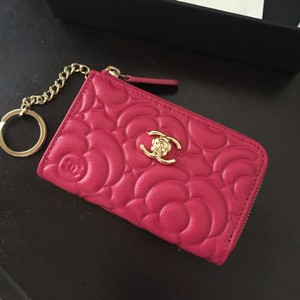 Chanel Chanel Caviar Camellia Key/Card Holder Wallet