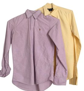 Ralph Lauren Button Down Shirt Yellow and purple