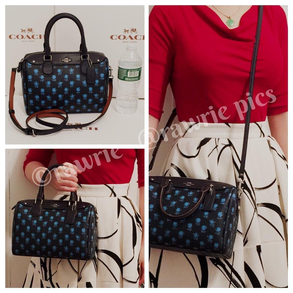 Coach Bennett Midnight Fl Mini Satchel And Wallet Set With Gift Box Blue Leather Cross Body Bag Tradesy
