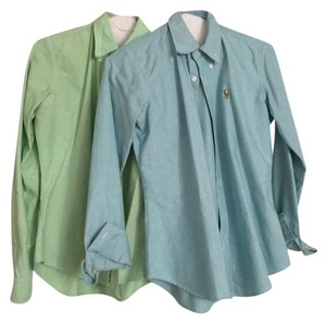 Ralph Lauren Button Down Shirt Blue and green