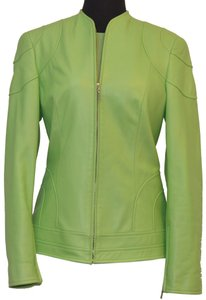 Escada light green leather W/ sweater Jacket