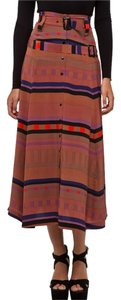 Vena Cava Silk Midi Midcalf Striped Skirt multi