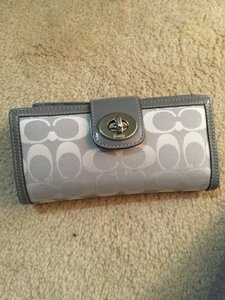 Coach Coach light gray wallet with matching checkbook cover