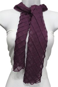 Women Neck Tie Scarf Soft Fabric Geometric Mosaic Fold Plaid Purple
