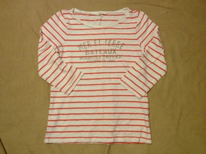 J.Crew Preppy Classic T Shirt RED WHITE STRIPED 3/4 SLEEVE GRAPHIC SHIRT