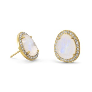 Diamond and Moonstone Halo Earrings