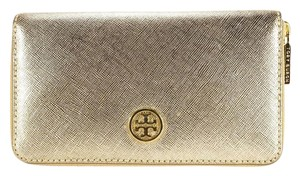 Tory Burch Tory Burch Gold Robinson Metallic Zip Continental Wallet