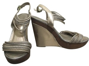 BCBG Paris Pewter Wedges