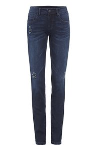 CAbi Destructed Denim Darkwash Skinny Jeans-Dark Rinse