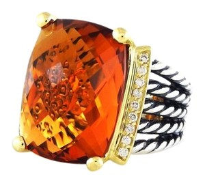 David Yurman Wheaton Ring with Citrine, Diamonds and Gold