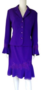 John Meyer of Norwich JOHN MEYER Purple Evening Skirt Suit 10 Lace Beads
