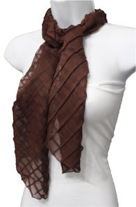 Other Glamorous Long Neck Tie Scarf With Geometric Mosaic Plaid Brown