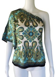 Cache One Satin Turquoise White Split Sleeve Top Multi-color