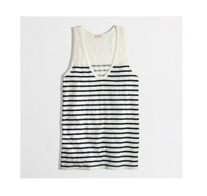 J.Crew Top STRIPED LAYERING TANK SCOOPNECK BLUE NAVY WHITE SMALL