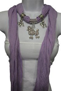 Lavender Fashion Scarf With Silver Dog Poodle Pendant Necklace